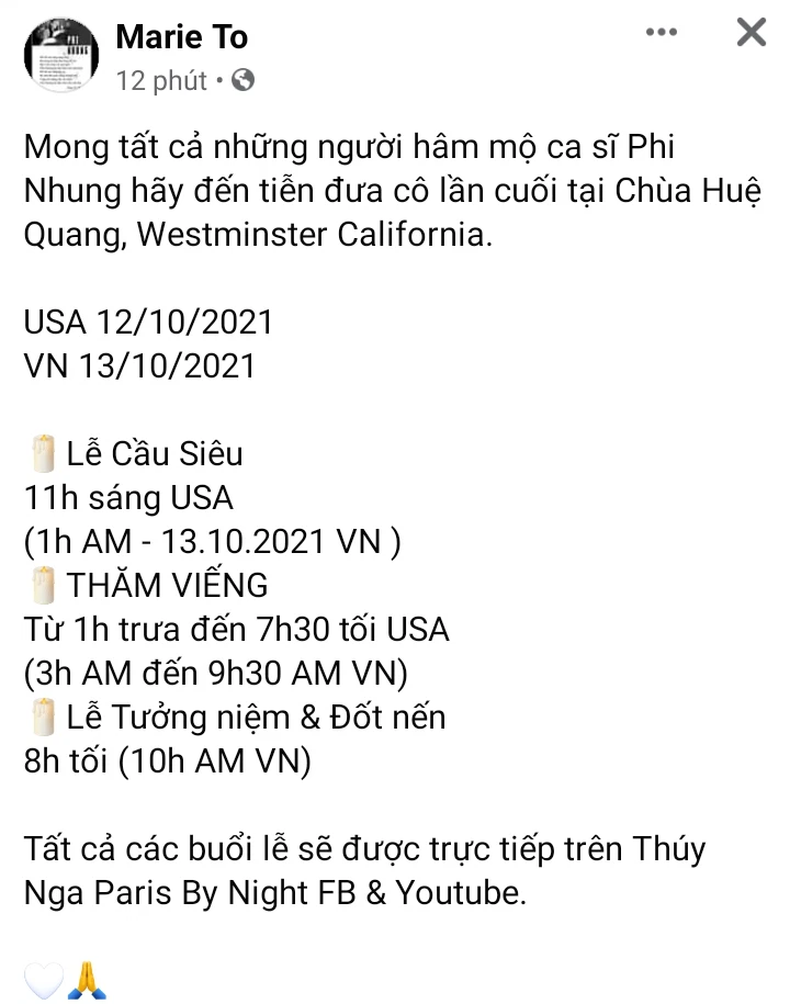 Làm thế nào để theo dõi trực tiếp lễ tang ca sĩ Phi Nhung từ Mỹ? - Ảnh 2.