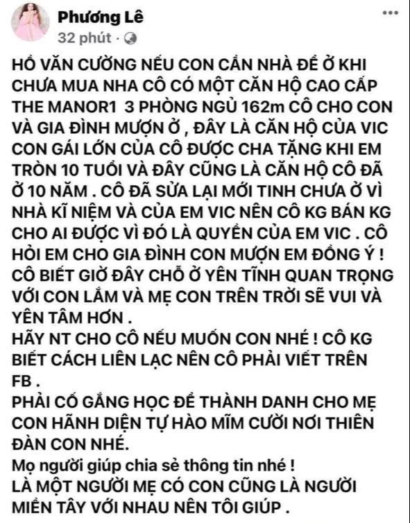 1 Hoa hậu tuyên bố cho gia đình Hồ Văn Cường mượn chung cư cao cấp 10 tỷ để ở sau khi rời khỏi nhà Phi Nhung - Ảnh 2.