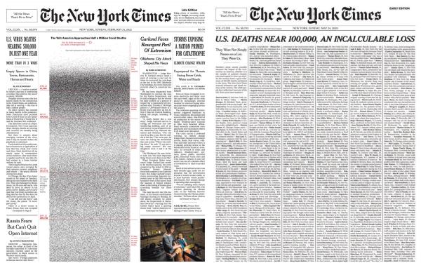 1000, 100.000, rồi nửa triệu: 2 trang nhất gây ám ảnh cả thế giới của New York Times về hiện thực đau đớn Covid-19 mang lại - ảnh 1
