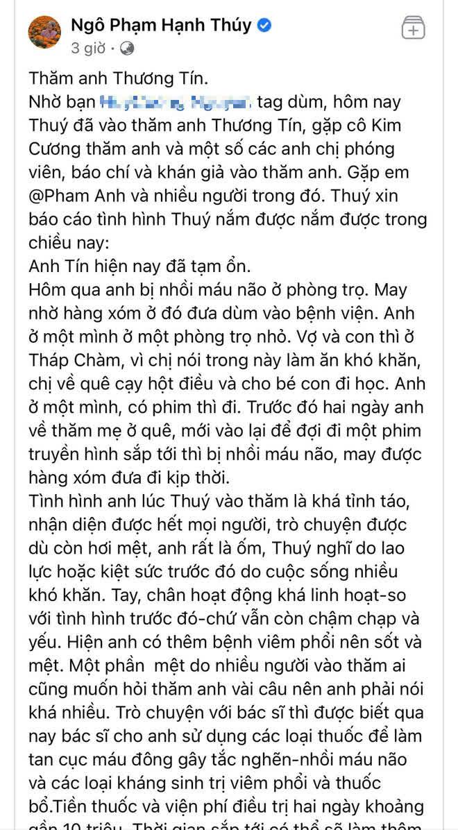 Sao Vbiz chung tay giúp đỡ NS Thương Tín: NS Trịnh Kim Chi kêu gọi hơn 76 triệu, Hạnh Thuý chi trả 10 triệu viện phí - ảnh 2