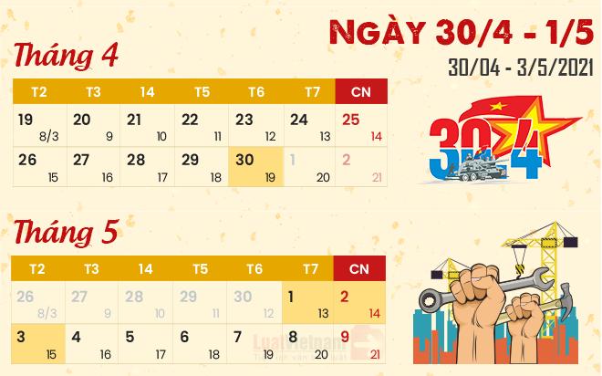 Dịp lễ 30/4 và 1/5 năm nay người lao động được nghỉ mấy ngày?