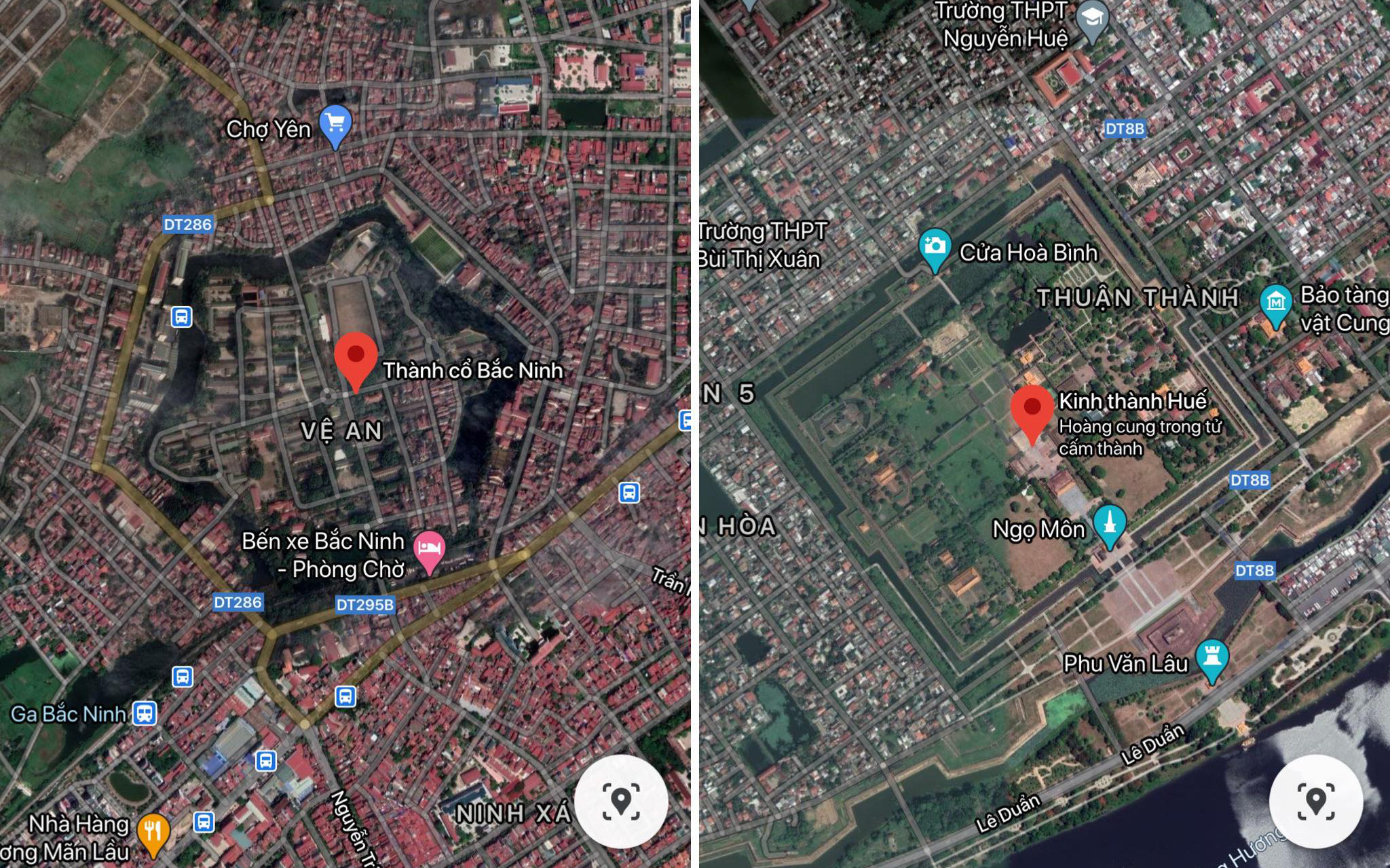 Những bức ảnh thành cổ tại Việt Nam nhìn từ Google Maps khiến cộng đồng mạng trầm trồ