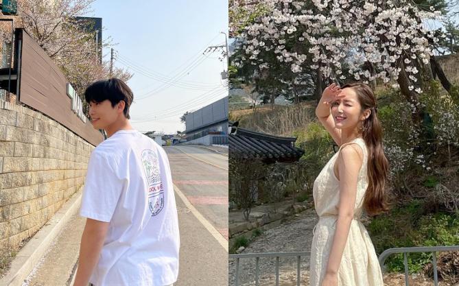 """Park Min Young - Park Seo Joon lộ bằng chứng hẹn hò ngắm hoa anh đào, còn dùng """"chiêu"""" này để đánh lạc hướng?"""