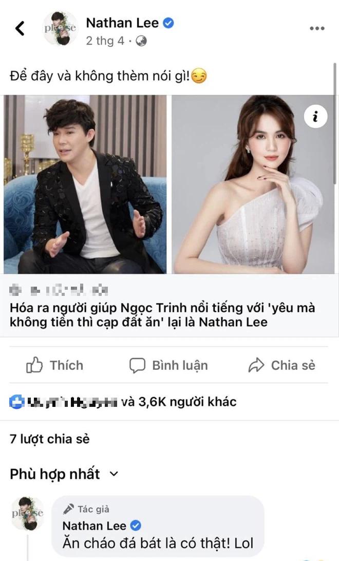 Nathan Lee đưa hẳn bài viết về Ngọc Trinh và ám chỉ ăn cháo đá bát, gây phẫn nộ vì hành động trái ngược hẳn với lời nói - ảnh 1