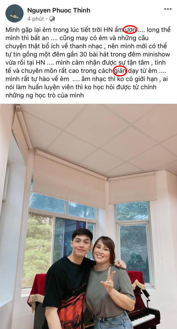 Noo Phước Thịnh xúc động viết tâm thư khi gặp lại học trò cũ nhưng bị soi... sai chính tả 001
