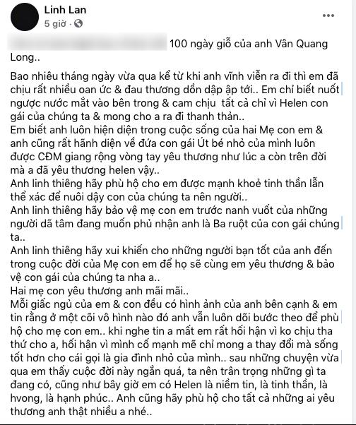 Linh Lan chính thức lên tiếng trước nghi vấn Helen không phải con ruột của cố NS Vân Quang Long - ảnh 1