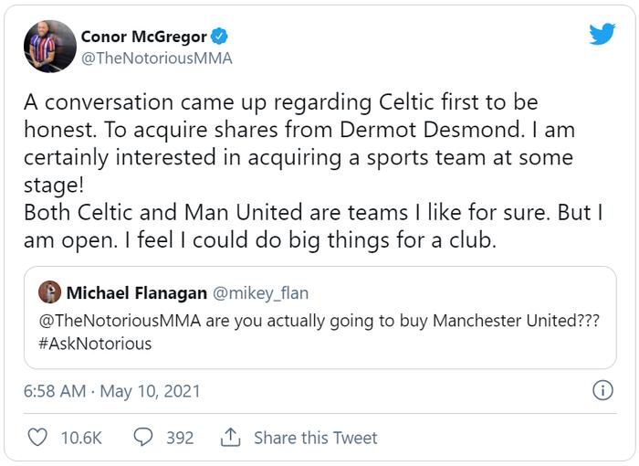 Conor McGregor tái khẳng định tham vọng thâu tóm Man United, tiết lộ đang đàm phán mua cổ phần của Celtic - Ảnh 1.