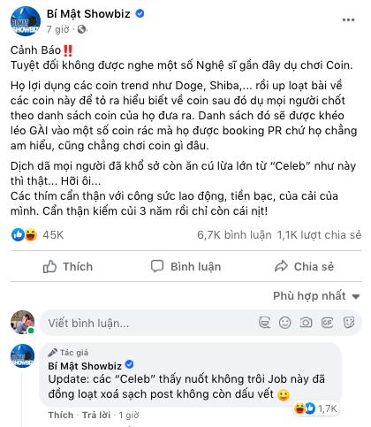Sau một đêm PR lộ liễu cho tiền ảo, bài viết của Ngọc Trinh, Nam Thư, Kiều Minh Tuấn... trên Facebook đồng loạt bốc hơi? - ảnh 4