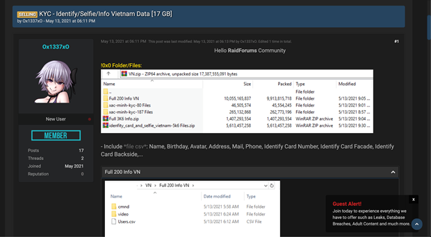 Thông tin của khoảng 10.000 người dùng Việt bị rao bán công khai trong vụ hacker mạng? - ảnh 1