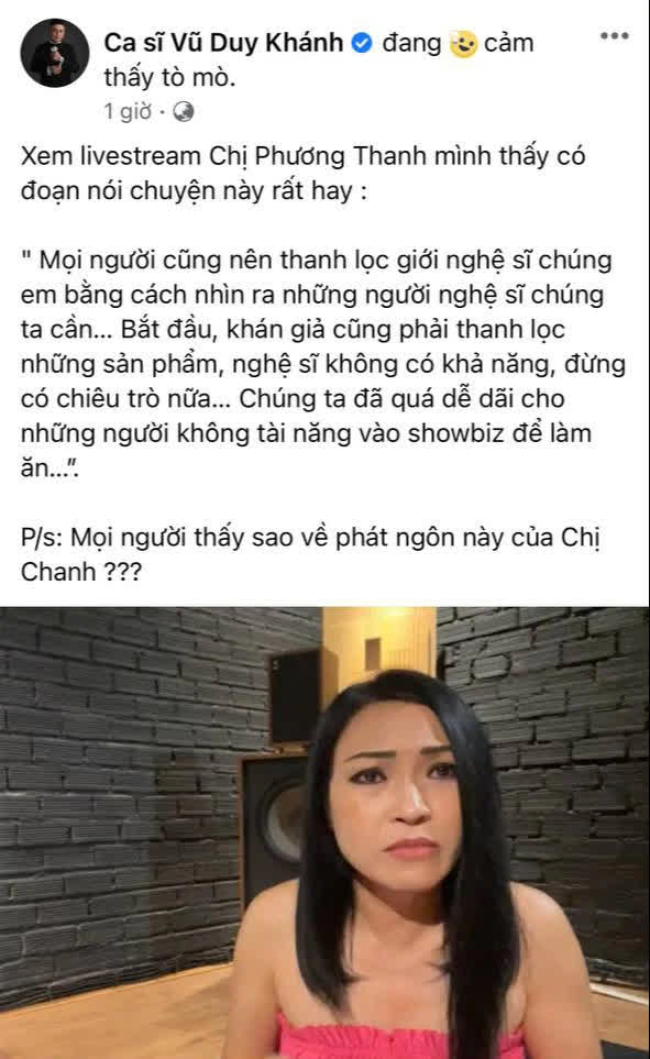 Vũ Duy Khánh đồng tình với phát ngôn của Phương Thanh: Chúng ta quá dễ dãi cho những người không có tài năng vào showbiz làm ăn - Ảnh 2.