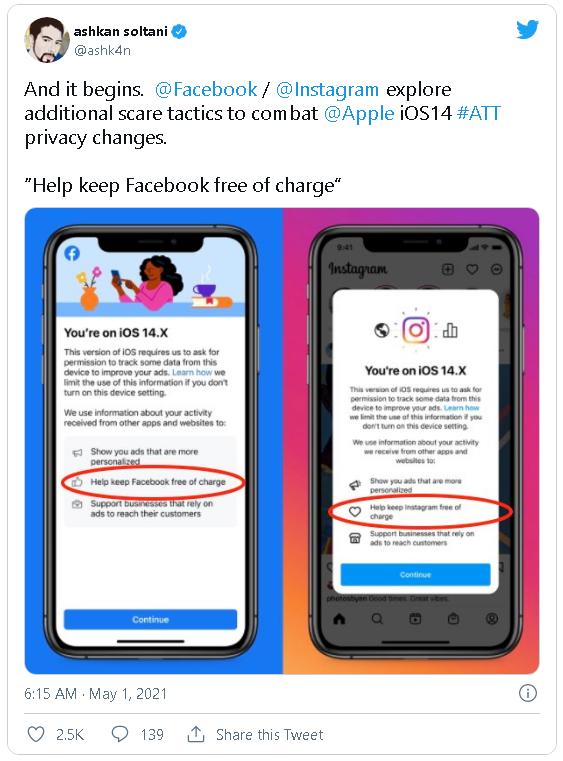 """Facebook và Instagram thông báo cho người dùng biết việc theo dõi là để giúp các dịch vụ này """"miễn phí"""" - ảnh 2"""