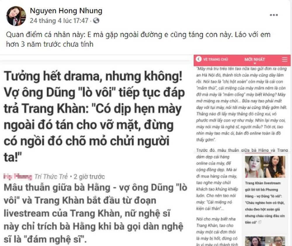 Vợ Xuân Bắc liên tục đăng đàn cà khịa Trang Trần, cựu siêu mẫu đáp trả cực gắt còn tuyên bố sẵn sàng tay đôi - ảnh 1