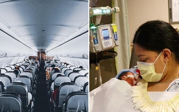 Hy hữu người phụ nữ không biết đang mang thai và sinh con khi đi máy bay - ảnh 1