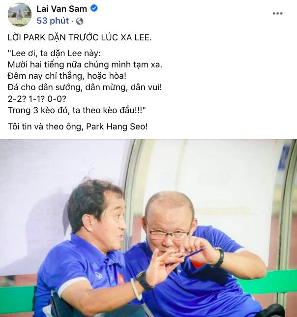Nhà báo Lại Văn Sâm làm thơ tả lời dặn của HLV Park Hang Seo với trợ lý, đặt niềm tin tuyệt đối: Đêm nay chỉ thắng hoặc hoà - Ảnh 1.