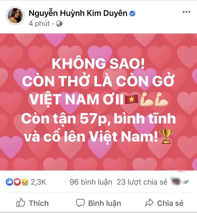 Động viên đội tuyển Việt Nam nhưng Á hậu Kim Duyên viết sai 1 từ, bị cả cộng đồng mạng vào bắt sửa - ảnh 1