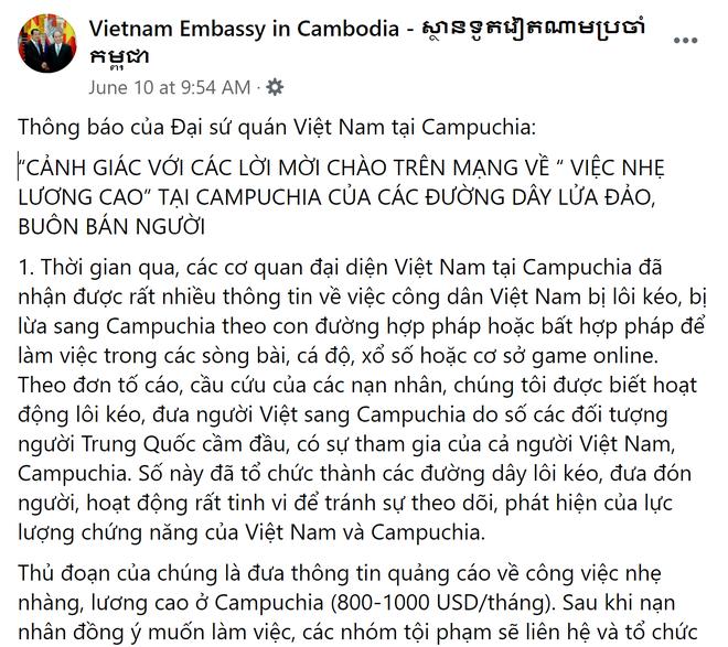ĐSQ Việt Nam tại Campuchia cảnh báo về các đường dây lừa đảo, buôn người do người Trung Quốc cầm đầu - ảnh 1