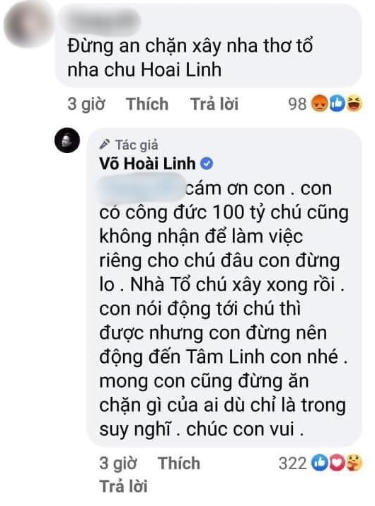 Giữa ồn ào, netizen rần rần vì màn đáp trả của NS Hoài Linh khi bị netizen nhắc nhẹ ăn chặn Nhà thờ Tổ - ảnh 1