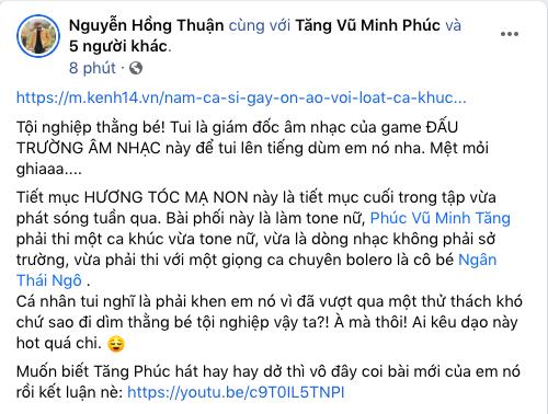Nhạc sĩ Nguyễn Hồng Thuận lên tiếng bênh vực Tăng Phúc khi nhận liên hoàn gạch đá vì hát dân ca - ảnh 1