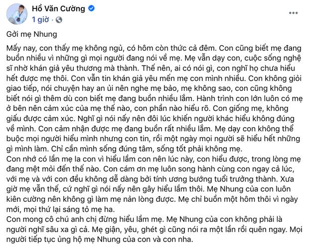 Hồ Văn Cường lên tiếng về ồn ào với Phi Nhung: Xác nhận tin nhắn là thật nhưng bị hack, phủ nhận bị bóc lột và nhận lỗi với mẹ - Ảnh 5.
