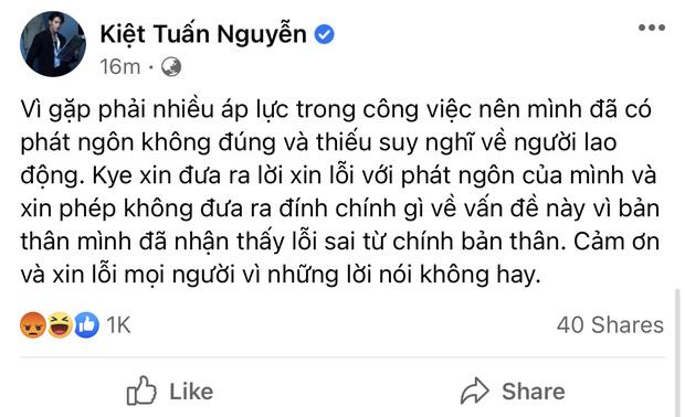 Một nữ ca sĩ bênh vực, gà cưng Vũ Khắc Tiệp khen đáng yêu còn netizen đồng loạt thả phẫn nộ lời xin lỗi của stylist xúc phạm người lao động - ảnh 1