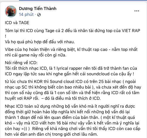 Thí sinh Rap Việt lên tiếng nhận xét kiểu hoà vốn về trận beef giữa ICD và Tage nhưng không đồng ý ở 2 điểm - ảnh 1