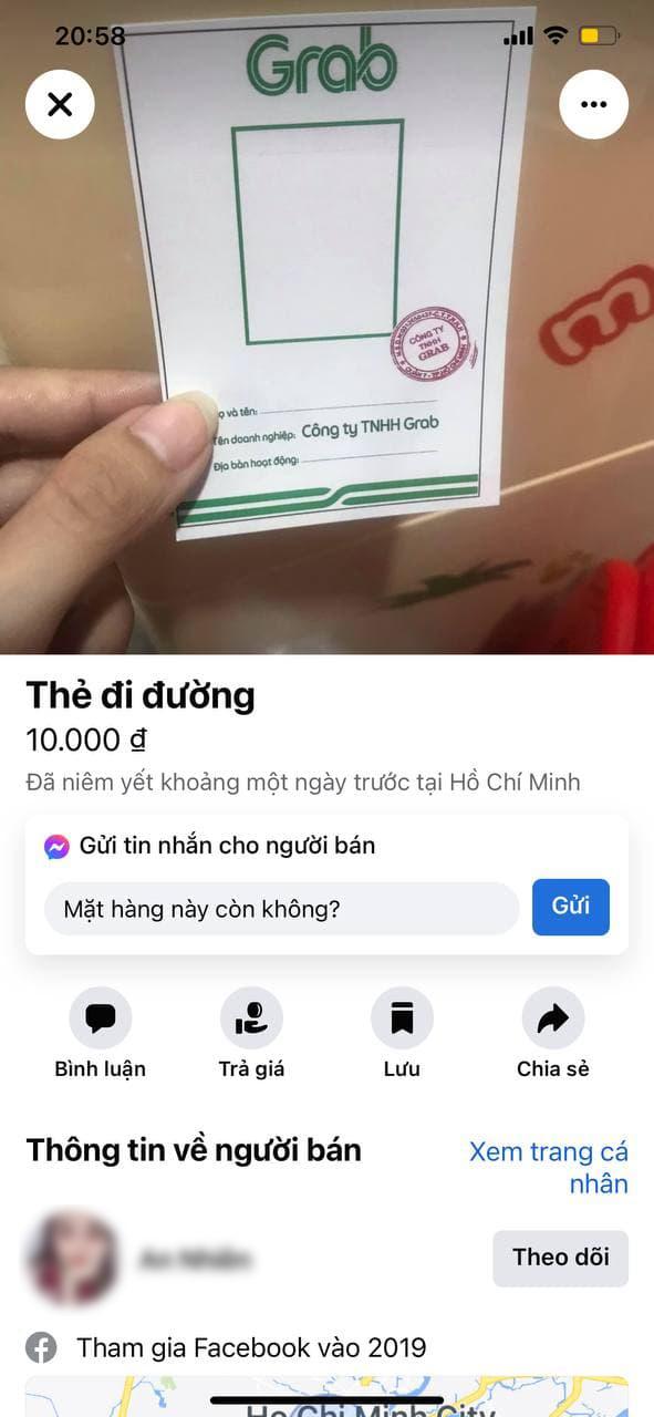 Giấy thông hành giả mạo Grab bày bán tràn lan trên Facebook với giá 10.000 đồng - ảnh 1