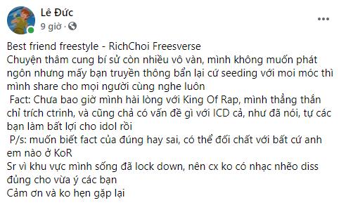 Biến căng: RichChoi diss thẳng mặt Quán quân King Of Rap, tố đi cửa sau để giành chiến thắng, chơi xấu anh em cùng chương trình! - ảnh 1