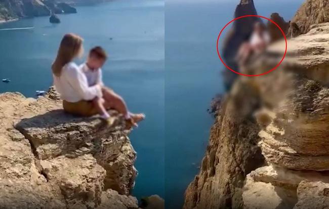 Mẹ đưa con trai lên vách đá chụp ảnh sống ảo, dân mạng phát hiện chi tiết chết người, đòi tước quyền làm mẹ ngay - ảnh 2