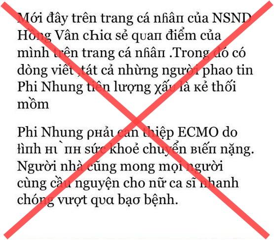 Đến lượt NS Hồng Vân bị mạo danh tung tin tức tiêu cực về bệnh tình Phi Nhung, phải bức xúc lên tiếng đính chính - ảnh 1