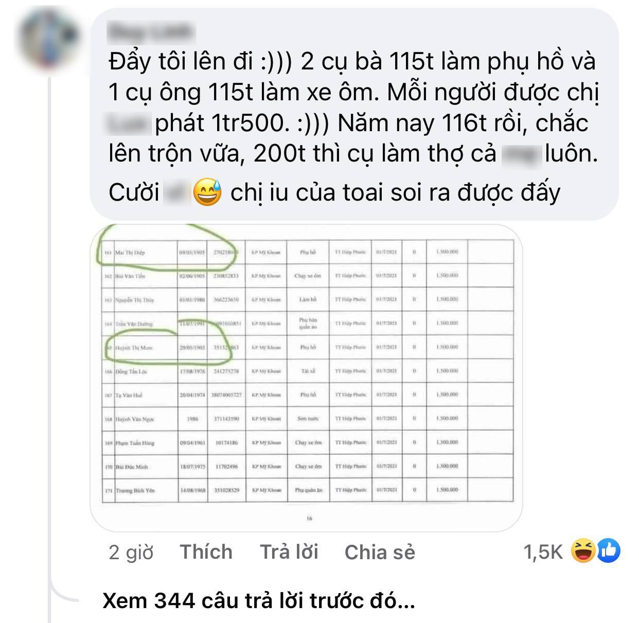 Netizen soi chi tiết khó hiểu trong sao kê của Thuỷ Tiên: 2 cụ già 116 tuổi vẫn được nhận 1,5 triệu tiền trợ cấp? - Ảnh 2.