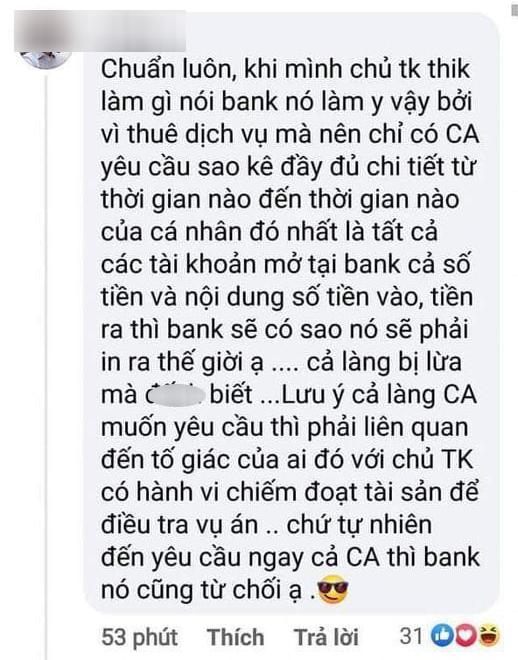 Sau bình luận về vấn đề sao kê Chủ tài khoản thích làm gì thì bank làm y vậy, Giám đốc chi nhánh 1 ngân hàng lên tiếng thanh minh - ảnh 1