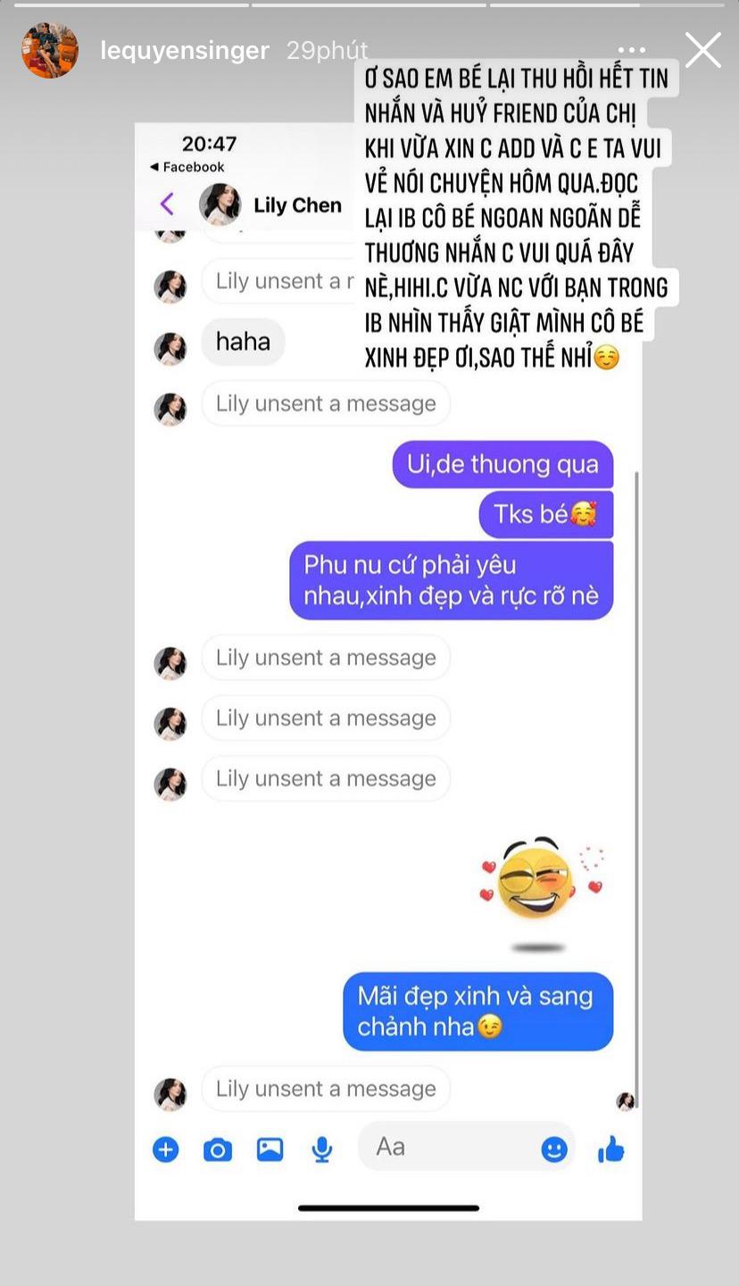 Tình địch Ngọc Trinh tự nhận là fan, xin kết bạn với Lệ Quyên xong unfriend, gỡ toàn bộ tin nhắn đầy khó hiểu - Ảnh 3.