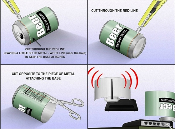"""Để bắt sóng Wi-Fi """"nhạy"""" hơn với vỏ lon nước ngọt 1"""