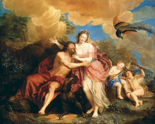 Zeus và Hera xung quanh các con trên đỉnh Olympus.