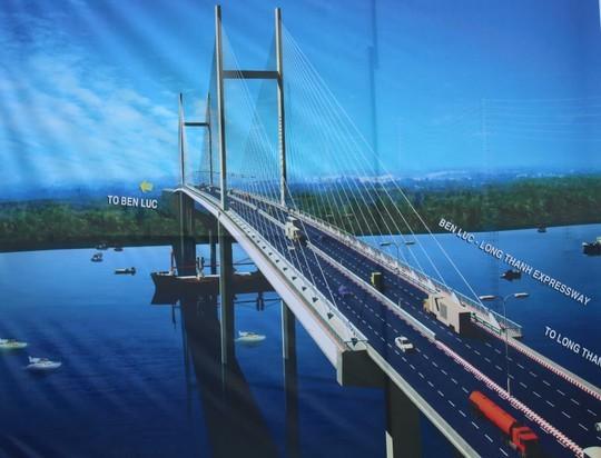 Phối cảnh dự án cầu cáp Phước Khánh trên đường cao tốc Bến Lức - Long Thành.