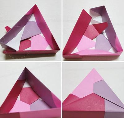 Học cách gấp hộp quà tam giác đơn giản và tiện lợi 7