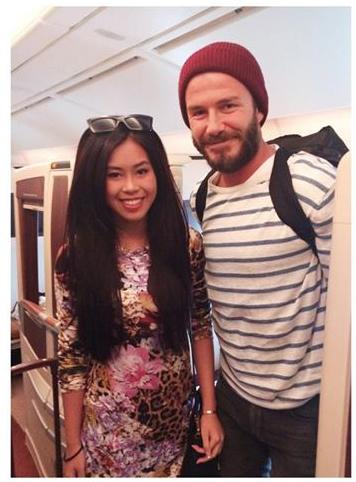 Thảo Tiên - em chồng Hà Tăng khoe ảnh đi cùng chuyến bay với David Beckham 1
