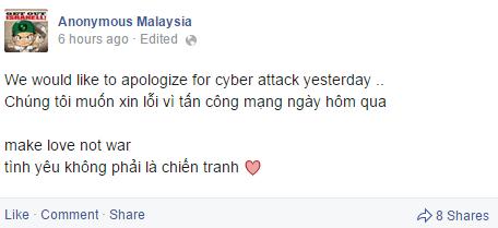 Nhóm hacker Malaysia bất ngờ lên tiếng xin lỗi Việt Nam 1