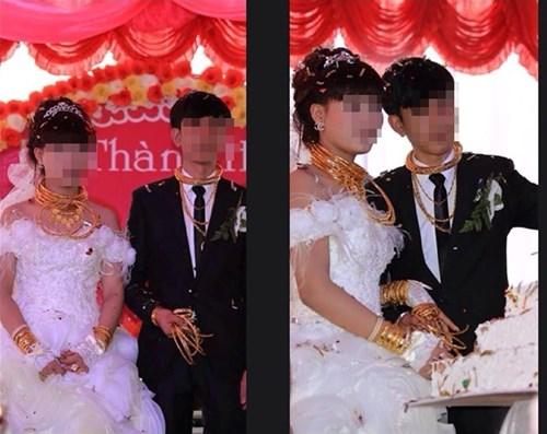 Cô dâu chú rể đeo đầy vàng trong đám cưới ở Hà Tĩnh  4