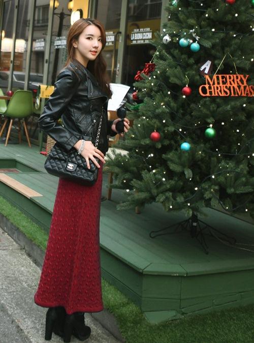 Dạo phố trendy với váy len ngọt ngào  8