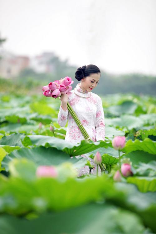 Muôn vẻ mỹ nhân Việt khoe sắc bên hoa sen 3