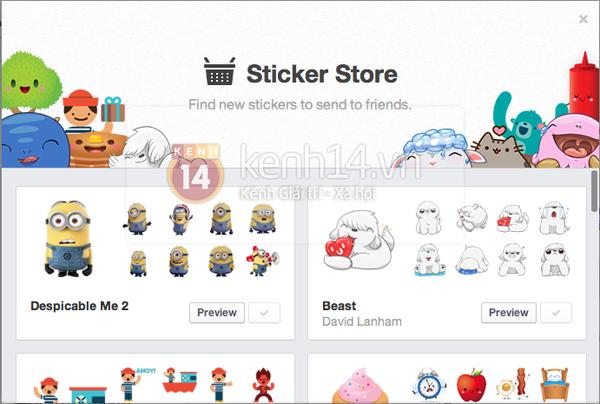 Facebook cập nhật bảng Sticker cho phiên bản máy tính 5