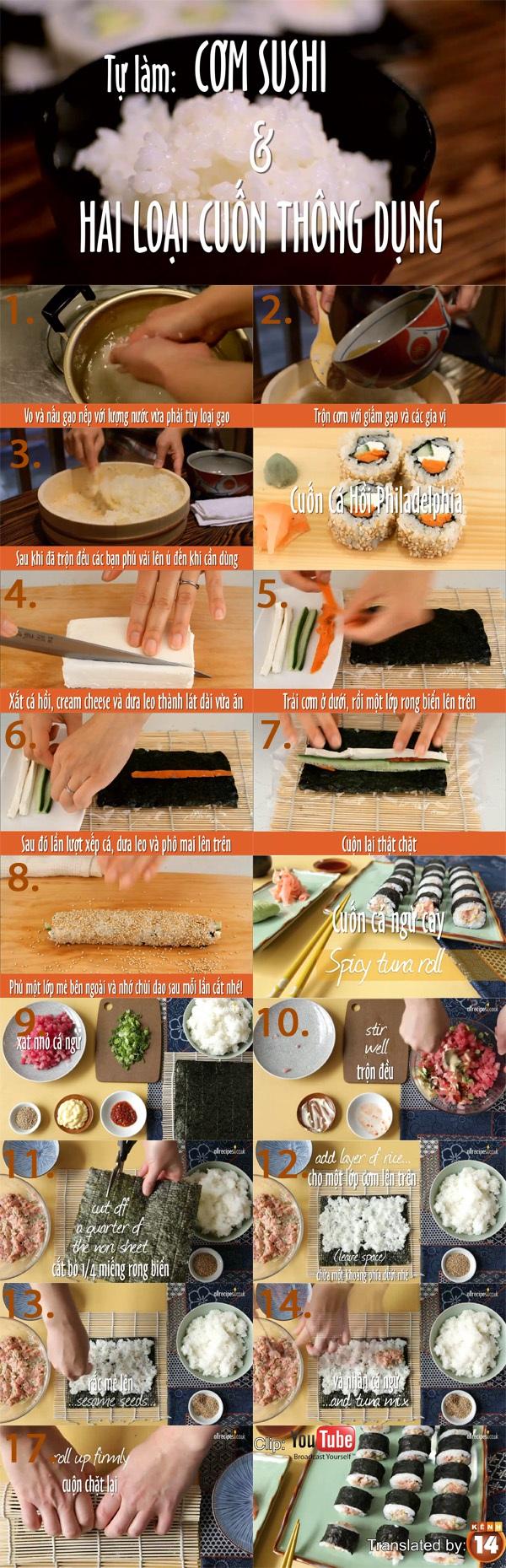 Cách làm cơm sushi và công thức 2 loại sushi ngon tuyệt 1