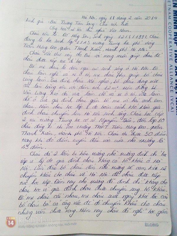 Xót xa trước bức thư của học sinh nghèo gửi Chủ tịch nước Trương Tấn Sang 1
