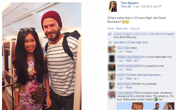 Thảo Tiên - em chồng Hà Tăng khoe ảnh đi cùng chuyến bay với David Beckham 2
