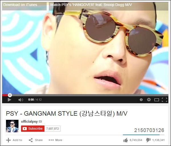 """""""Gangnam Style"""" của Psy đạt tới lượt xem cực đại trên YouTube 1"""