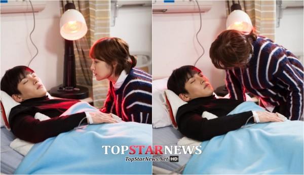 Park Min Young săm soi gương mặt điển trai của bạn diễn 2