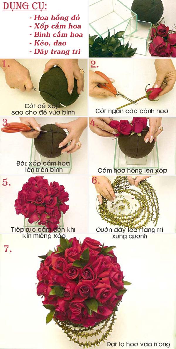 3 cách cắm hoa hồng cho bạn vụng về 3
