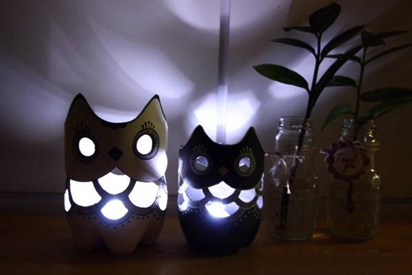 Tái chế vỏ chai cũ thành đèn ngủ cú mèo 9