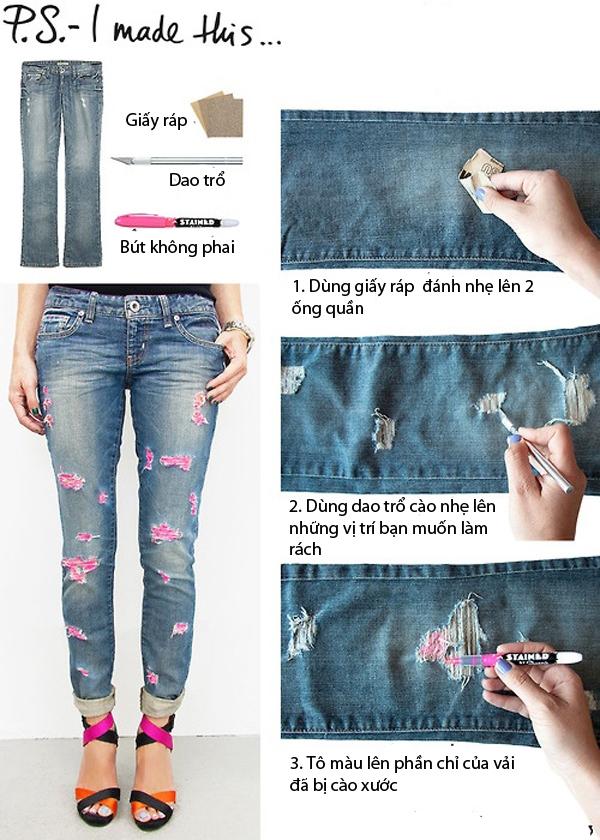 7 cách đơn giản biến hóa cho chiếc quần jeans cũ 3